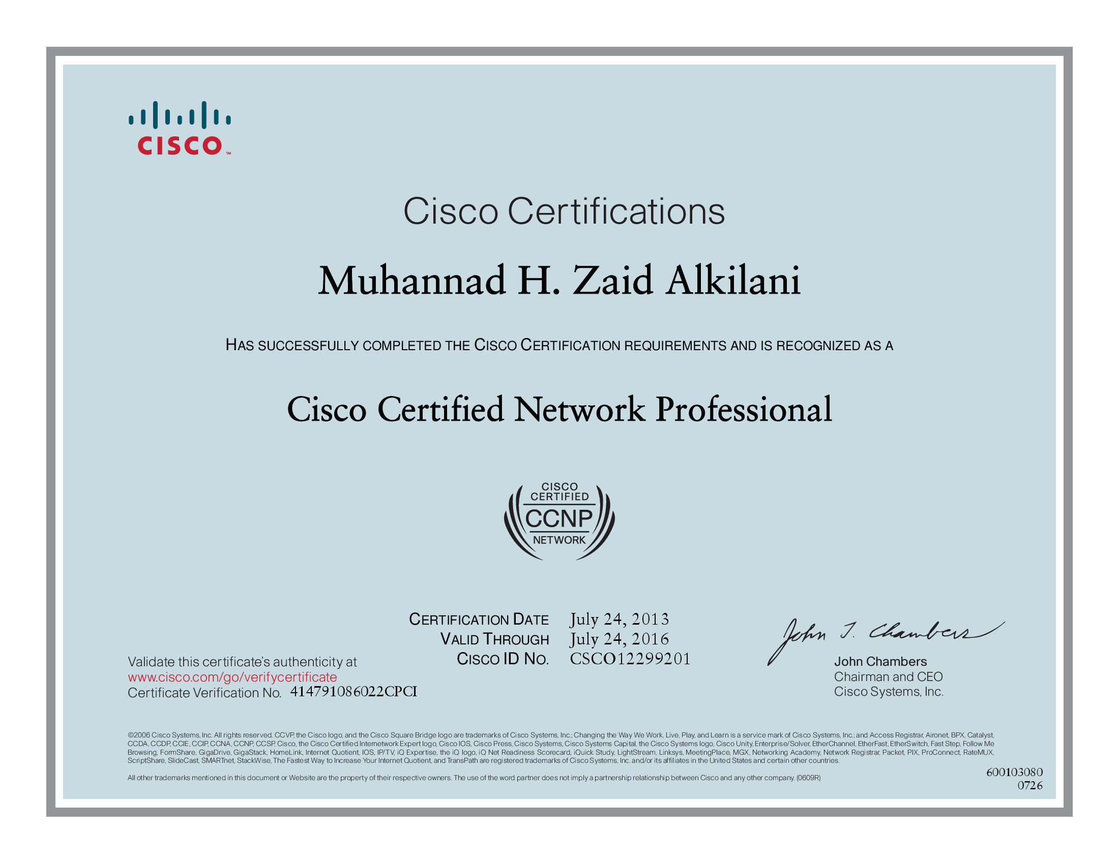 Is ccna certificate come from cisco or from institute, show me a.